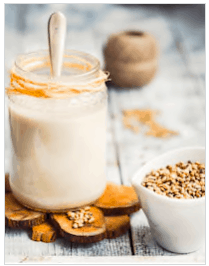 Hemp milk jar with hemp seeds