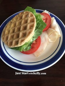 turkey sandwich made from chaffle