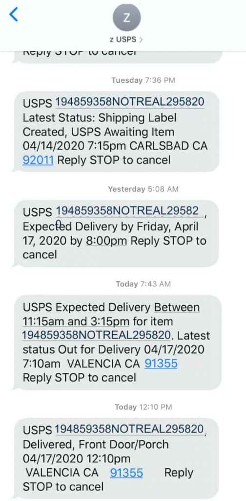 screenshot of usps delivery notification text
