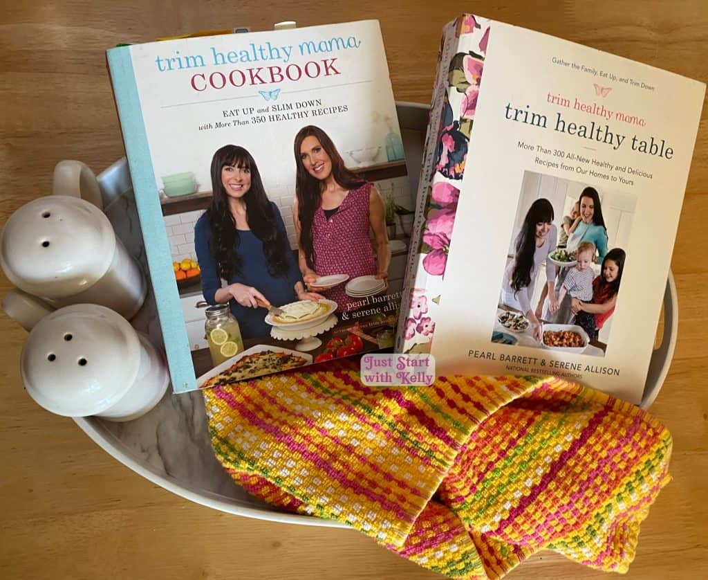 Trim Healthy mama cookbook and trim healthy table books on table